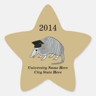 Black Gold Cute Armadillo Star Graduation Star Sticker