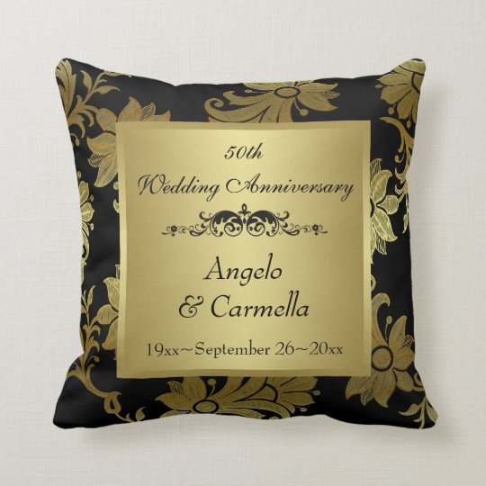 Black, Gold Damask 50th Anniversary Pillow