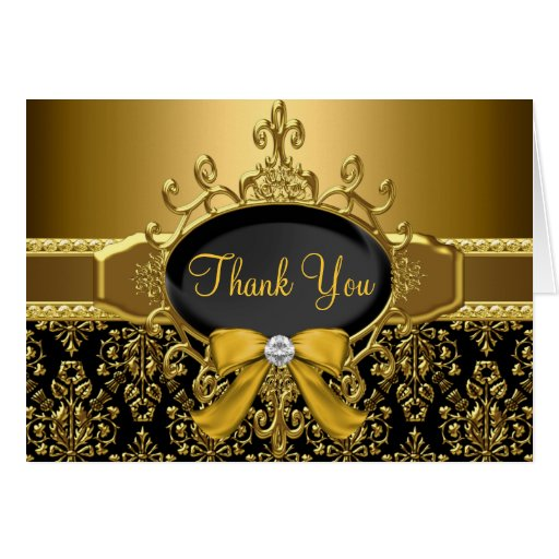 Black Gold Damask 50th Anniversary Thank You Card