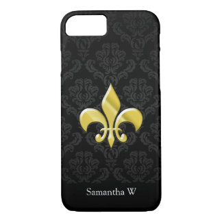 Black/Gold Damask Fleur de Lis iPhone 8/7 Case
