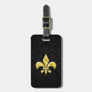 Black/Gold Damask Fleur de Lis Luggage Tag