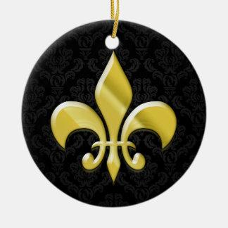 Black Gold Damask Fleur de Lis Ornaments