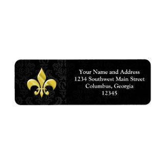 Black/Gold Damask Fleur de Lis Return Address Label