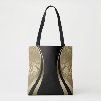 Black & Gold Damask Modern Geometric Design Tote Bag