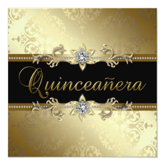 Black Gold Damask Quinceanera Card