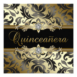 Black Gold Damask Quinceanera Invitations