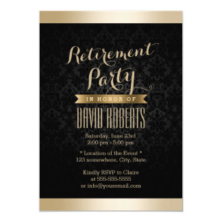Black & Gold Damask Retirement Party Invitations