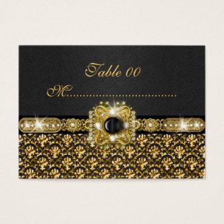 """Black gold damask """"table number"""" wedding business card"""