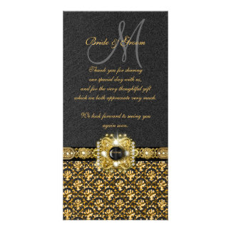 """Black gold damask """"thank you"""" personalized photo card"""