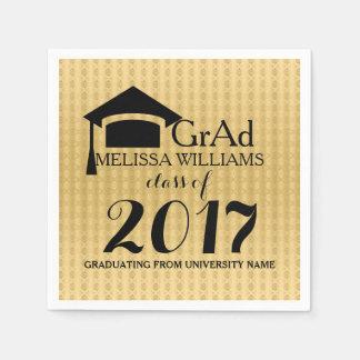 Black & Gold Damasks Modern Grad Class Of 2017 Paper Napkins