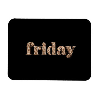 Black Gold Days of The Week Friday Typography Magnet