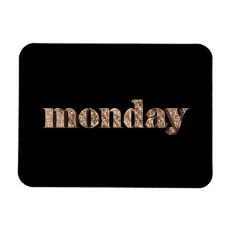 Black Gold Days of The Week Monday Typography Magnet