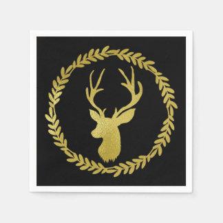 Black Gold Deer Wreath Christmas Napkin Paper Napkin