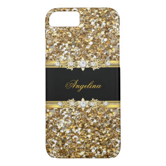 Black Gold Diamond Jewel Glitter iPhone 8/7 Case