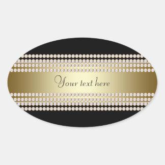 Black Gold Diamond Oval Sticker