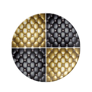 Black Gold Diamonds Collage Pattern Design Plate
