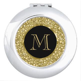 Black & Gold Diamonds Glitter-Monogram Mirrors For Makeup
