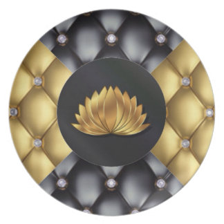 Black Gold Diamonds Lotus Flower Pattern Design Plate