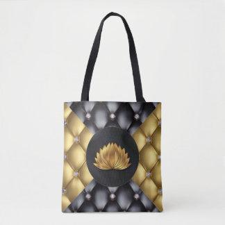 Black Gold Diamonds Lotus Flower Pattern Design Tote Bag