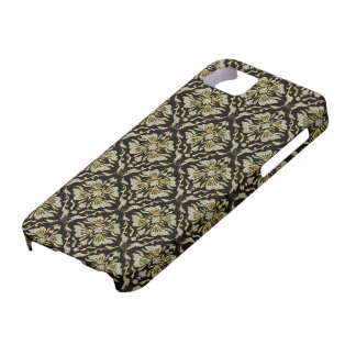 Black Gold & Diamonds Pattern-Retro Floral Damasks iPhone 5 Covers