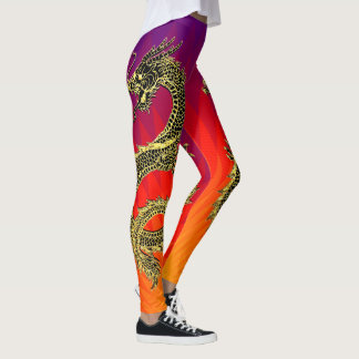 Black Gold Dragons Flames Gradient Leggings