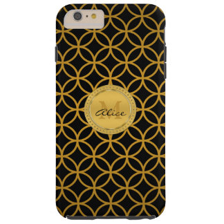 Black Gold Elegant Abstract Circles (Graphic) Tough iPhone 6 Plus Case