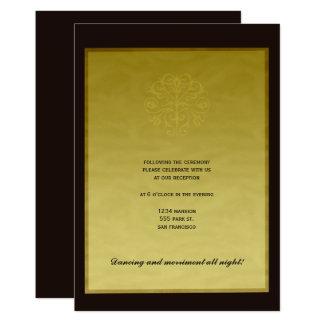 Black gold elegant luxury wedding reception card