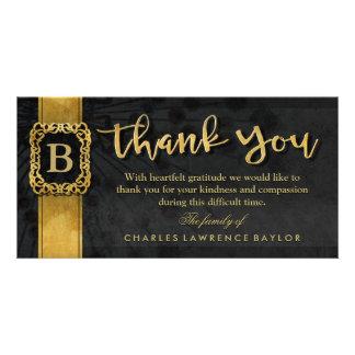 Black & Gold Elegant Monogram Sympathy Thank You Photo Card Template