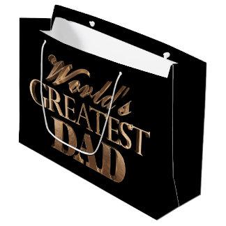 Black Gold Elegant Typography Worlds Greatest Dad Large Gift Bag