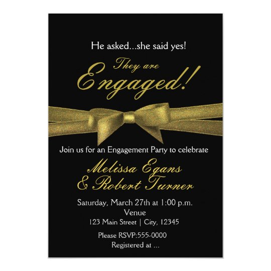 Black & Gold Engagement Chic Bow Party Invitation