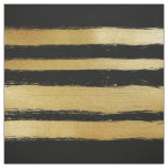 Black gold faux leaf modern brushstrokes stripes fabric