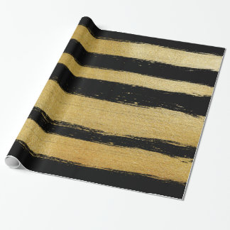 Black gold faux leaf modern brushstrokes stripes wrapping paper