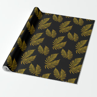 Black Gold Fern Pattern Wrapping Paper