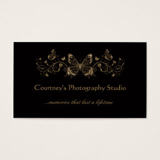 Black Gold Filigree Butterflies Business Cards