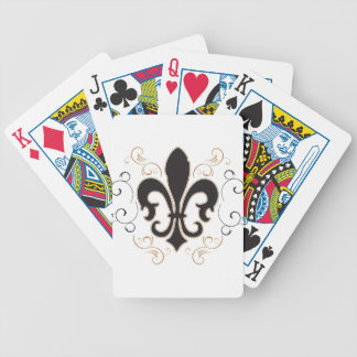 black_gold Fleur Bicycle Playing Cards