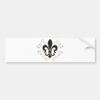 black_gold Fleur Bumper Sticker