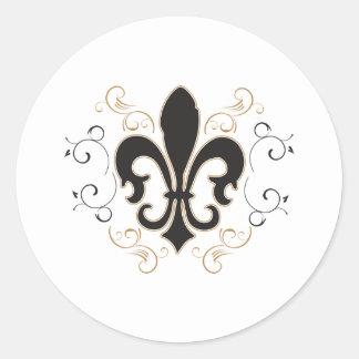 black_gold Fleur Classic Round Sticker