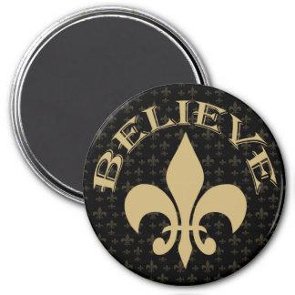 Black Gold Fleur de Lis Believe 3 Inch Round Magnet
