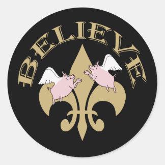 Black Gold Fleur de Lis Flying Pigs Believe Round Sticker