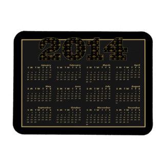 Black Gold Fleur de Lis Pattern 2014 Calendar Rectangular Photo Magnet
