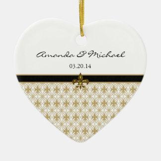 Black Gold Fleur de Lis Pattern Wedding Ceramic Ornament