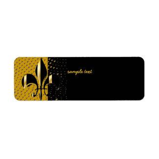 Black Gold Fleur de lis Return Address Label