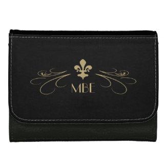 Black Gold Fleur de Lis Scroll Monogram Wallet