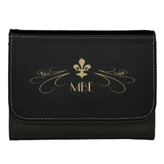 Black Gold Fleur de Lis Scroll Monogram Wallets
