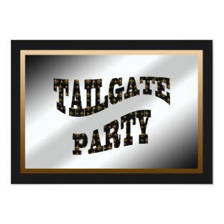 """Black Gold Fleur de Lis Tailgate Party 5"""" X 7"""" Invitation Card"""