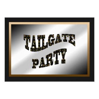 Black Gold Fleur de Lis Tailgate Party Cards