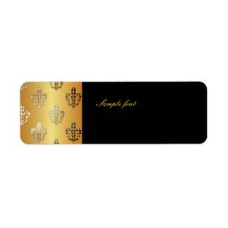 Black Gold Fleur de lis with harlequin Return Address Label