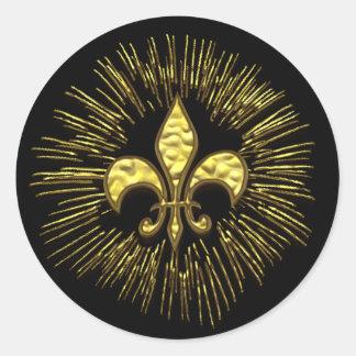 Black Gold Fleur de Lis with Sparks Classic Round Sticker