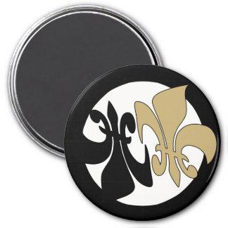 Black Gold Fleur de Lis Yin Yang 3 Inch Round Magnet
