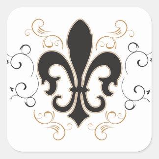 black_gold Fleur Square Sticker